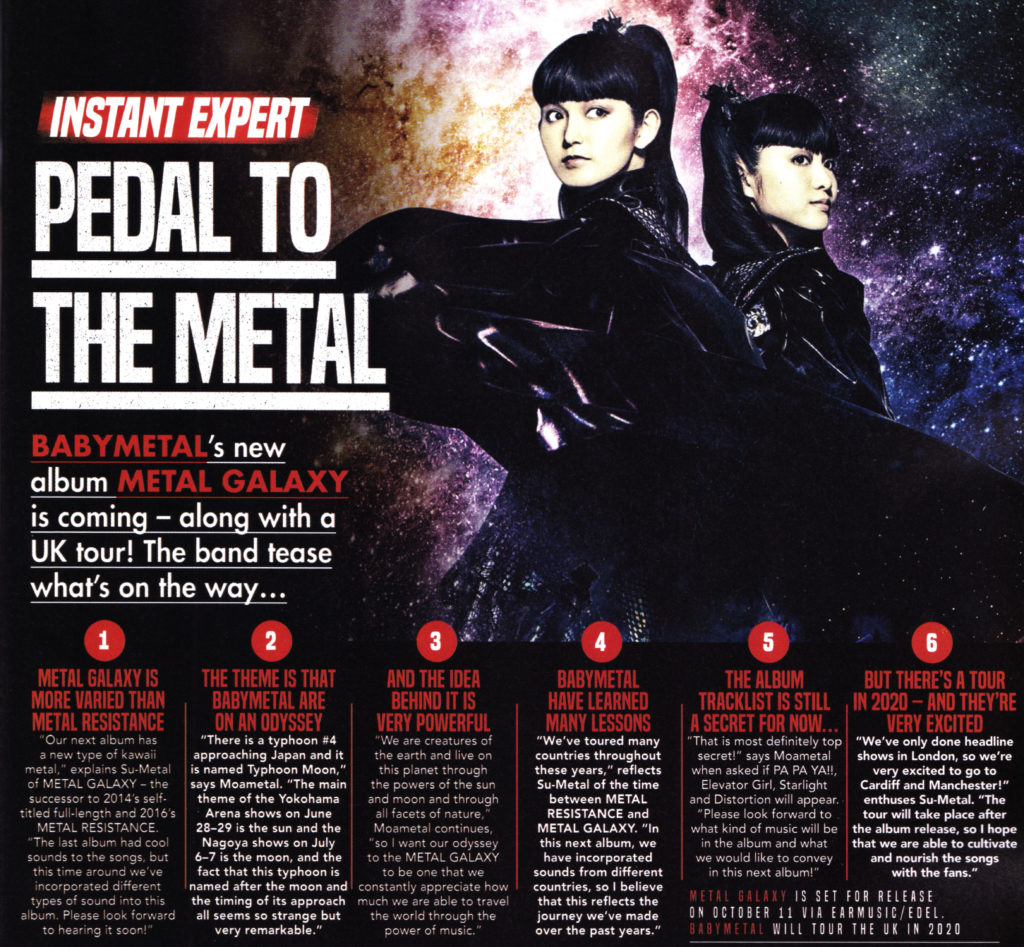 Kerrang interviewed BABYMETAL about Metal Galaxy and the UK 2020